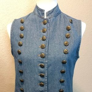 Vintage Denim Button Vest Sz Md